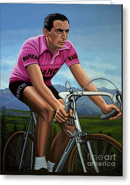 Fausto Coppi Painting Greeting Card by Paul Meijering