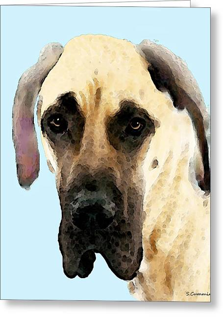 Buy Dog Art Greeting Cards - Fawn Great Dane Dog Art Painting Greeting Card by Sharon Cummings