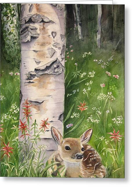 Fawning Greeting Cards - Fawn in Woods Greeting Card by Patricia Pushaw
