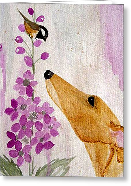 Greyhound Dog Greeting Cards - Fawn with Chickadee Greeting Card by Jennifer Howard