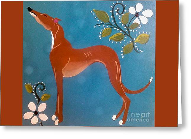 Greyhound Dog Greeting Cards - Fawn with Flowers Greeting Card by Jennifer Howard