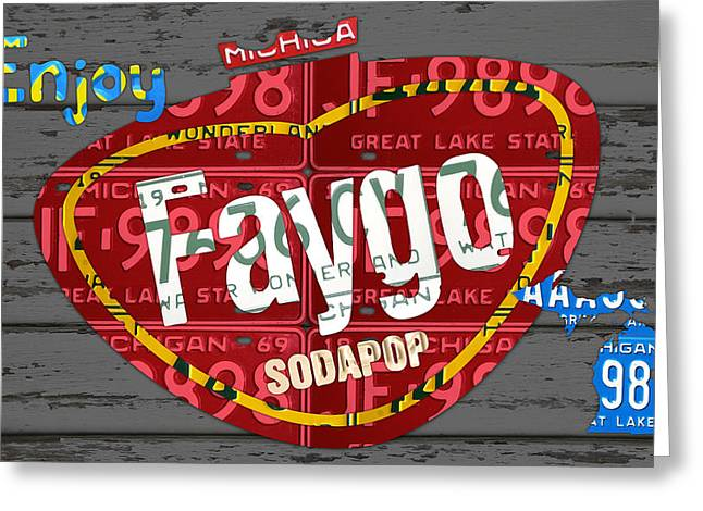 Barn Wood Greeting Cards - Faygo Soda Pop Recycled Vintage Michigan License Plate Art on Gray Distressed Barn Wood Greeting Card by Design Turnpike