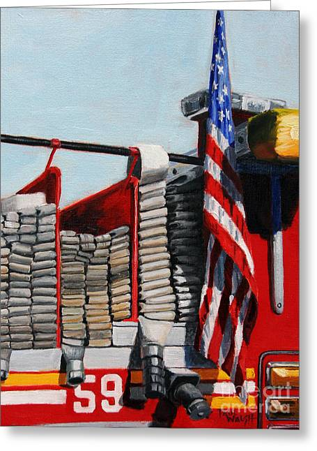 Hoses Greeting Cards - FDNY ENGINE 59 American Flag Greeting Card by Paul Walsh