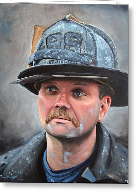 Fdny Lieutenant Greeting Card by Paul Walsh