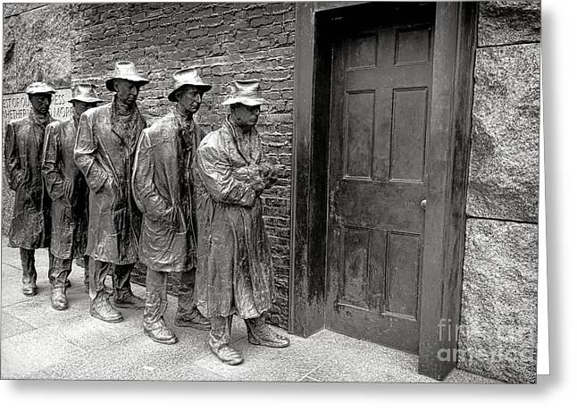 Fdr Memorial Breadline Greeting Card by Olivier Le Queinec