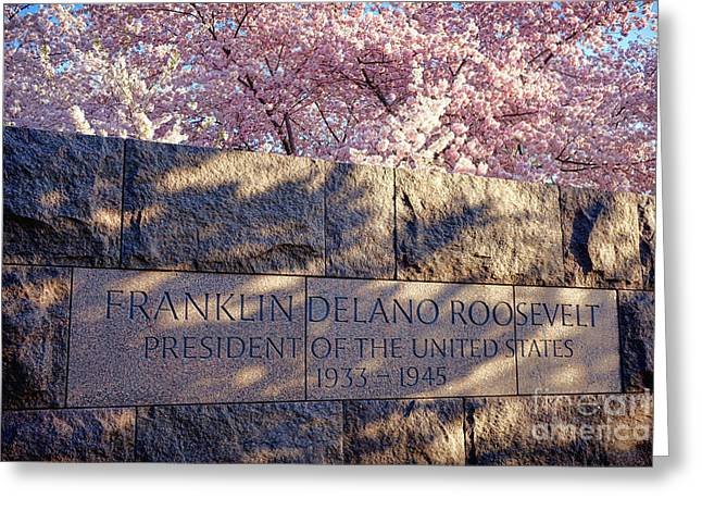Fdr Memorial Marker In Washington D.c. Greeting Card by Olivier Le Queinec