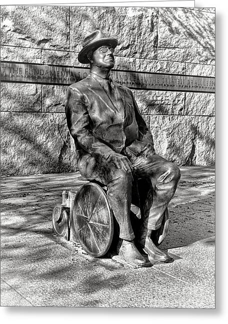 Fdr Memorial Sculpture In Wheelchair Greeting Card by Olivier Le Queinec