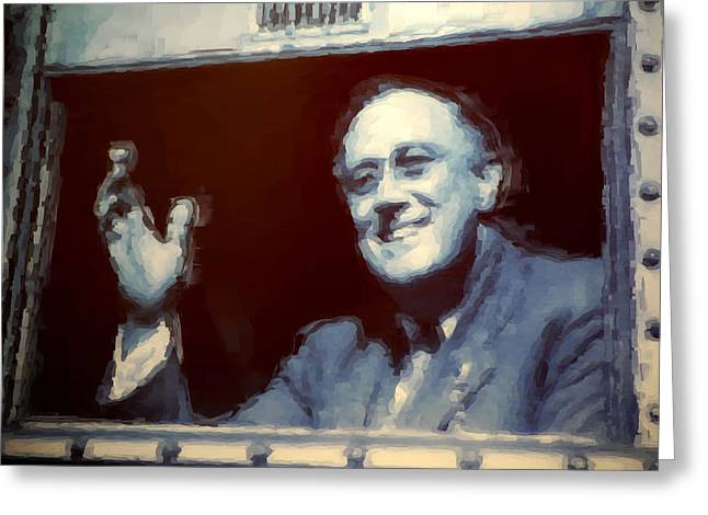 Franklin Roosevelt Greeting Cards - F.D.R. painting Greeting Card by Robert Meanor