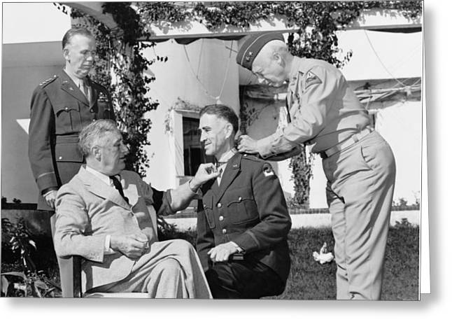 William Photographs Greeting Cards - FDR Presenting Medal Of Honor To William Wilbur Greeting Card by War Is Hell Store