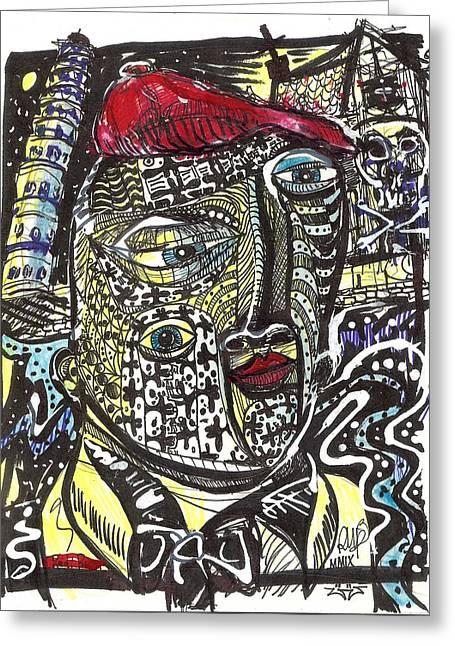 Fear Of Falling Greeting Card by Robert Wolverton Jr