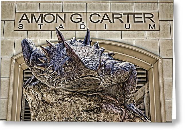 Ft Worth Greeting Cards - Fear The Frog - TCU 2 Greeting Card by Stephen Stookey