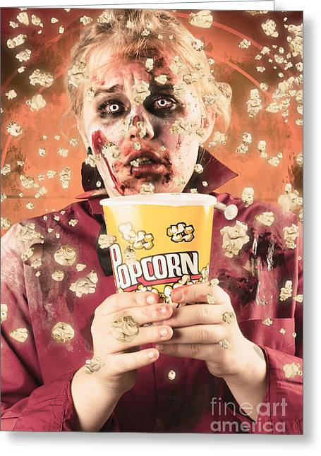 Fiend Greeting Cards - Fearful zombie watching slasher flick. Scary film Greeting Card by Ryan Jorgensen