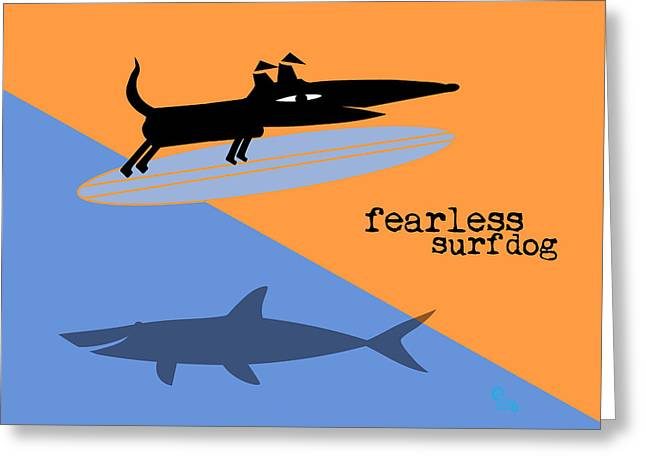 Surfer Drawings Greeting Cards - Fearless Surf Dog Greeting Card by Surf Dog Maximus