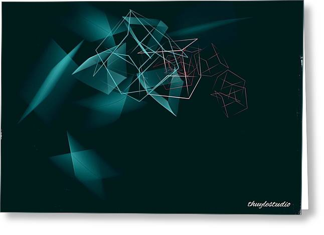 Abstract Digital Paintings Greeting Cards - Fearless Greeting Card by Thuy Le