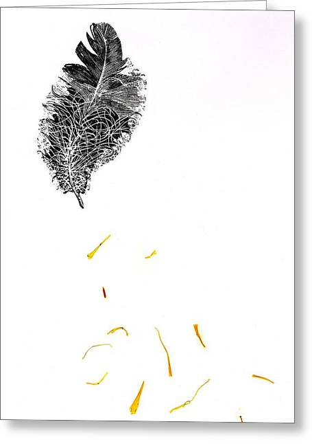 Monochrome Drawings Greeting Cards - Feather Greeting Card by Bella Larsson