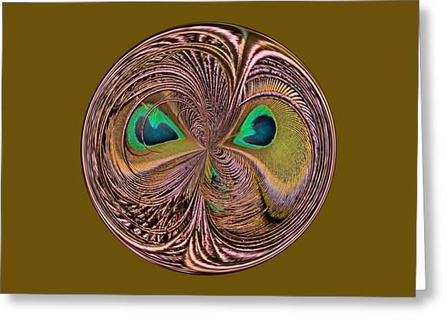Feather Eyes Orb Greeting Card by Marv Vandehey