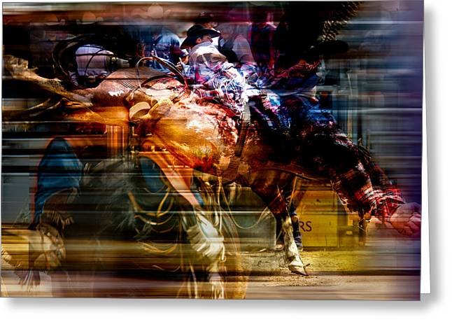 Feathered Bronc Rider Greeting Card by Mark Courage