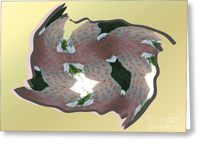 Feathered Tile Greeting Card by Ron Bissett
