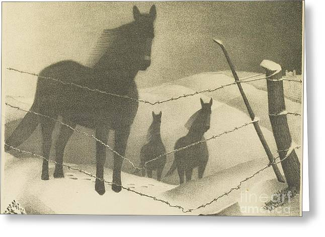 February  Greeting Card by Grant Wood