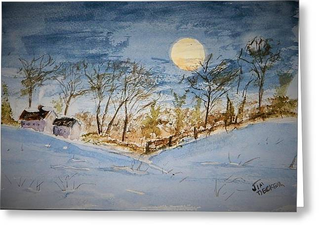 Maine Farms Greeting Cards - February Moon Greeting Card by Jim Decker