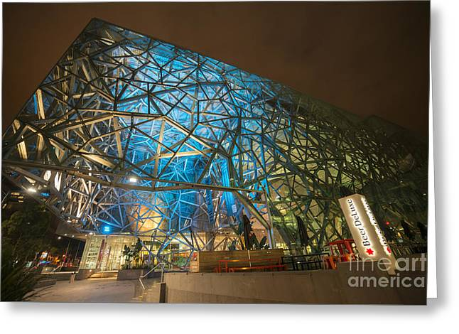 Fed Greeting Cards - Fed Square Blues Greeting Card by Ray Warren