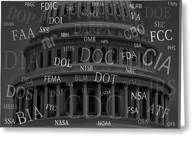 Federal Government Greeting Cards - FEDERAL AGENCIES of the UNITED STATES Greeting Card by Daniel Hagerman