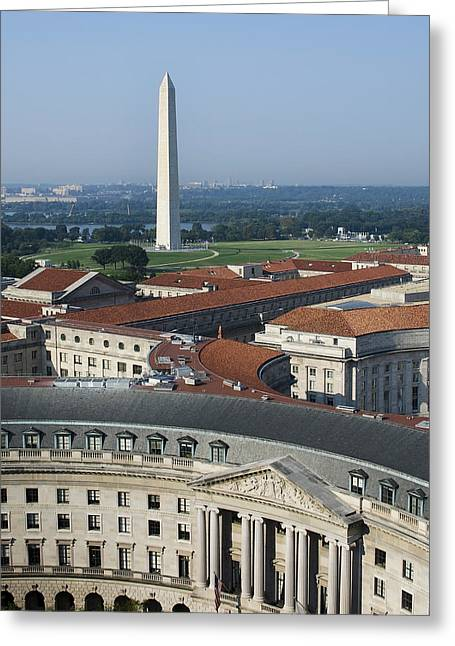 Red-roofed Buildings Greeting Cards - Federal Buildings - The Washington Monument and The National Mall - Washington DC Greeting Card by Brendan Reals