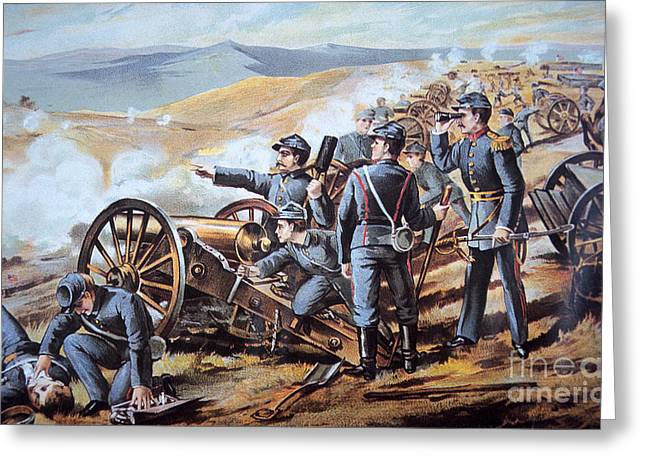 Wounded Greeting Cards - Federal field artillery in action during the American Civil War  Greeting Card by American School
