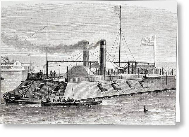 Tennessee Drawings Greeting Cards - Federal Gunboat Used During The Naval Greeting Card by Ken Welsh