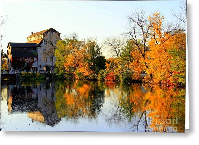 Feed Mill Fall Glow Greeting Card by Carol Komassa