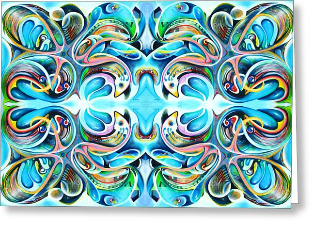 Feeding Tapestries - Textiles Greeting Cards - Feeding Frenzy 2 Greeting Card by Ky Wilms