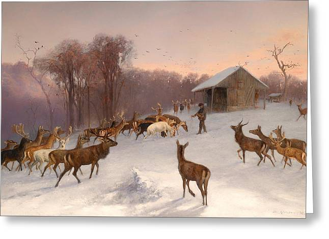 Wintry Greeting Cards - Feeding Of Fallow Deer And Red Deer In Winter Greeting Card by Wilhelm Richter