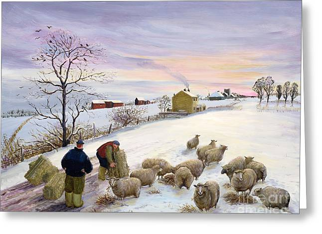 Feed Paintings Greeting Cards - Feeding sheep in winter Greeting Card by Margaret Loxton