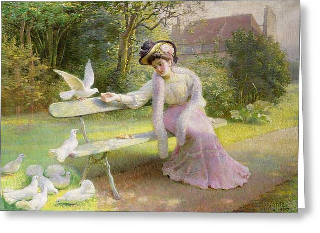 Park Benches Paintings Greeting Cards - Feeding the Doves  Greeting Card by Edmond Alphonse Defonte