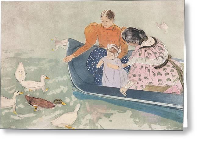 Feeding The Ducks Greeting Card by Mary Stevenson Cassatt