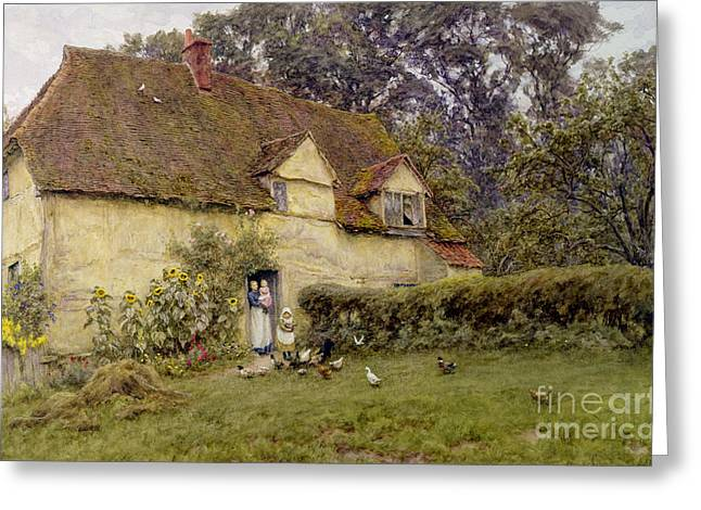 Chimneys. Flowers Greeting Cards - Feeding the Fowls Greeting Card by Helen Allingham
