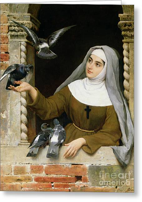 Feeding Greeting Cards - Feeding the Pigeons Greeting Card by Eugen von Blaas