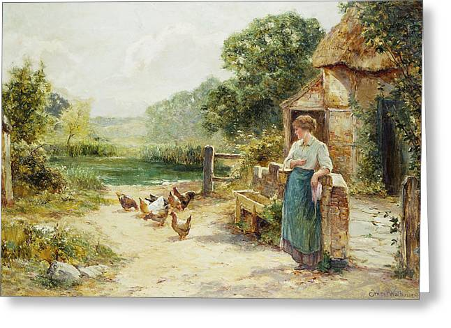 Feeding Time Greeting Card by Ernest Walbourn