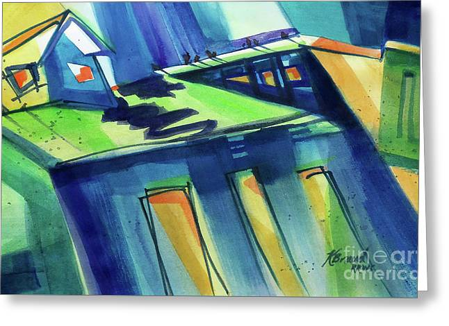 Feedmill In Blue And Green Greeting Card by Kathy Braud