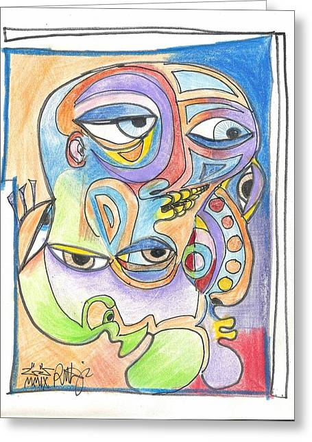 Rwjr Drawings Greeting Cards - Feeling Picasso Greeting Card by Robert Wolverton Jr