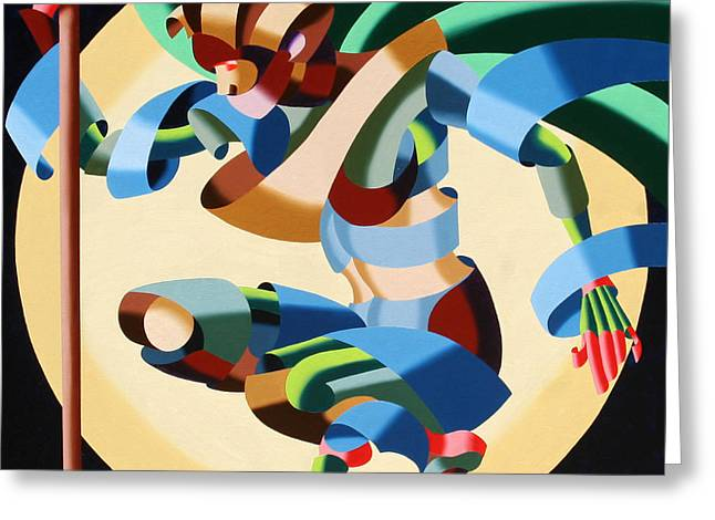 Daily Painter Greeting Cards - Felicia 1424 - Abstract Futurism Oil Painting Greeting Card by Mark Webster