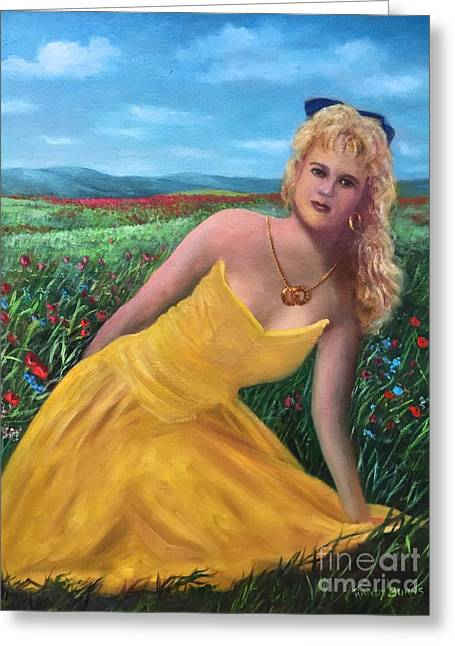 Gold Necklace Greeting Cards - Felicia Greeting Card by Randy Burns