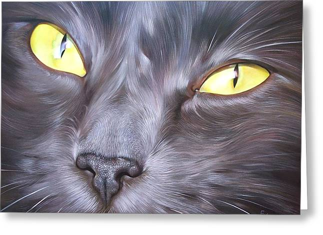 Close Ups Greeting Cards - Feline face 1 Greeting Card by Elena Kolotusha
