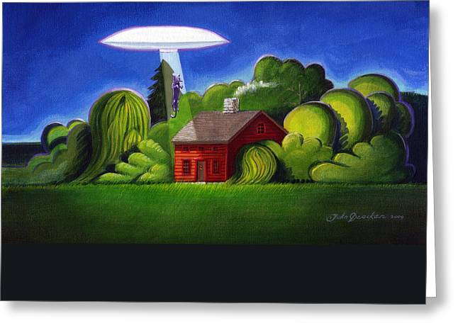 Abduction Greeting Cards - Feline UFO Abduction Greeting Card by John Deecken