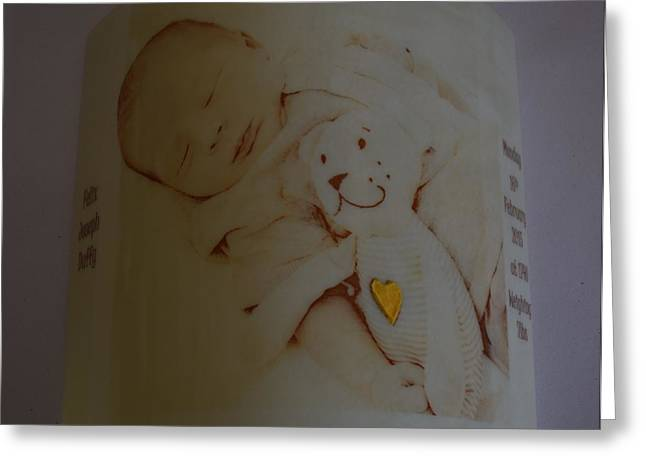 Babies Glass Art Greeting Cards - Felix Greeting Card by Rosalind Duffy