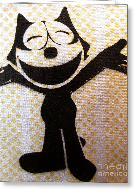 Tom Evans Greeting Cards - Felix the cat Greeting Card by Tom Evans