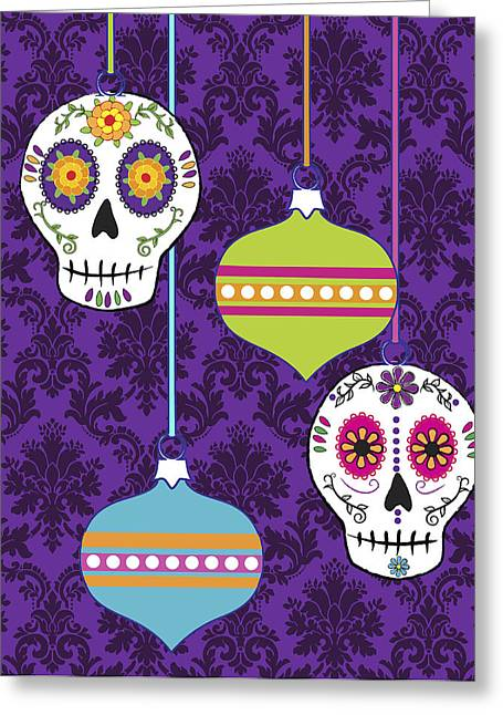 Rockabilly Digital Art Greeting Cards - Feliz Navidad Holiday Sugar Skulls Greeting Card by Tammy Wetzel