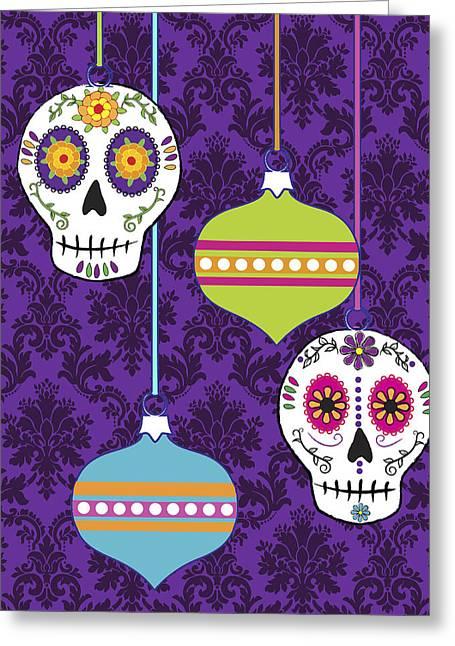Feliz Navidad Holiday Sugar Skulls Greeting Card by Tammy Wetzel