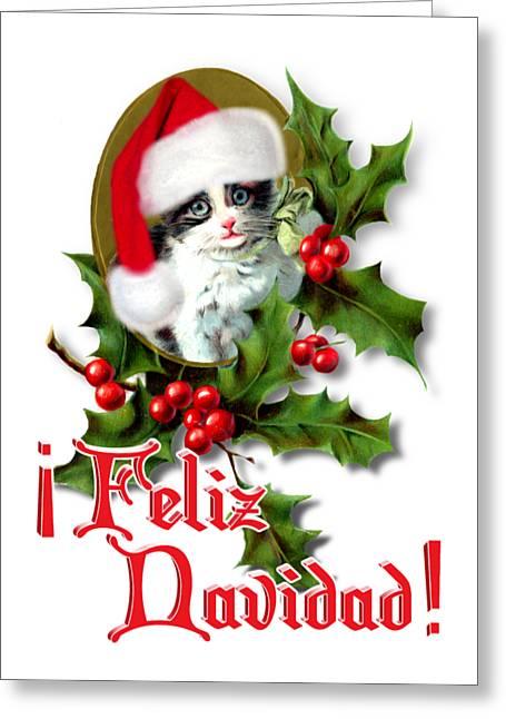 Feliz Greeting Cards - Feliz Navidad - Kitten Greeting Card by Gravityx9  Designs