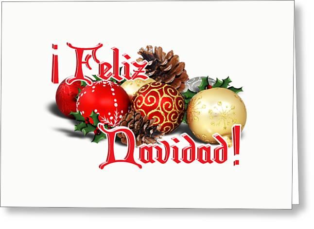 Feliz Greeting Cards - Feliz Navidad - Ornaments Greeting Card by Gravityx9  Designs